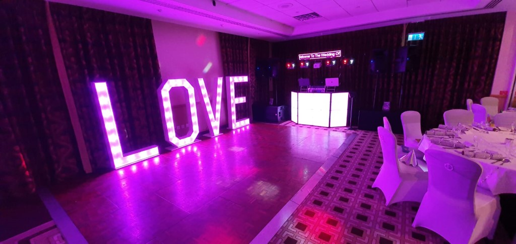 love letters for hire Essex, LED light accessories, SOS Entertainment