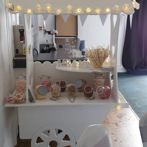 sweet cart for hire from SOS Entertainment, filled with sweets for wedding