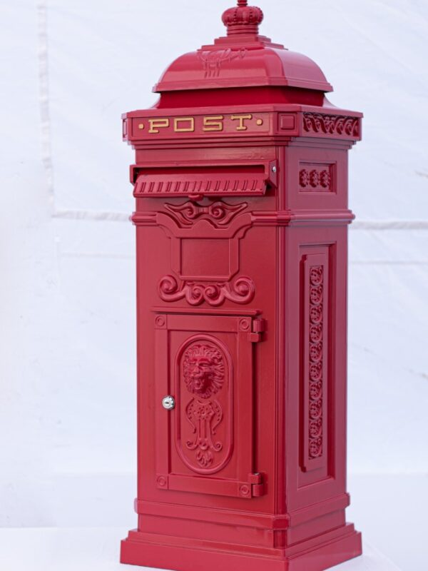 traditional red post box for weddings, can be personalised