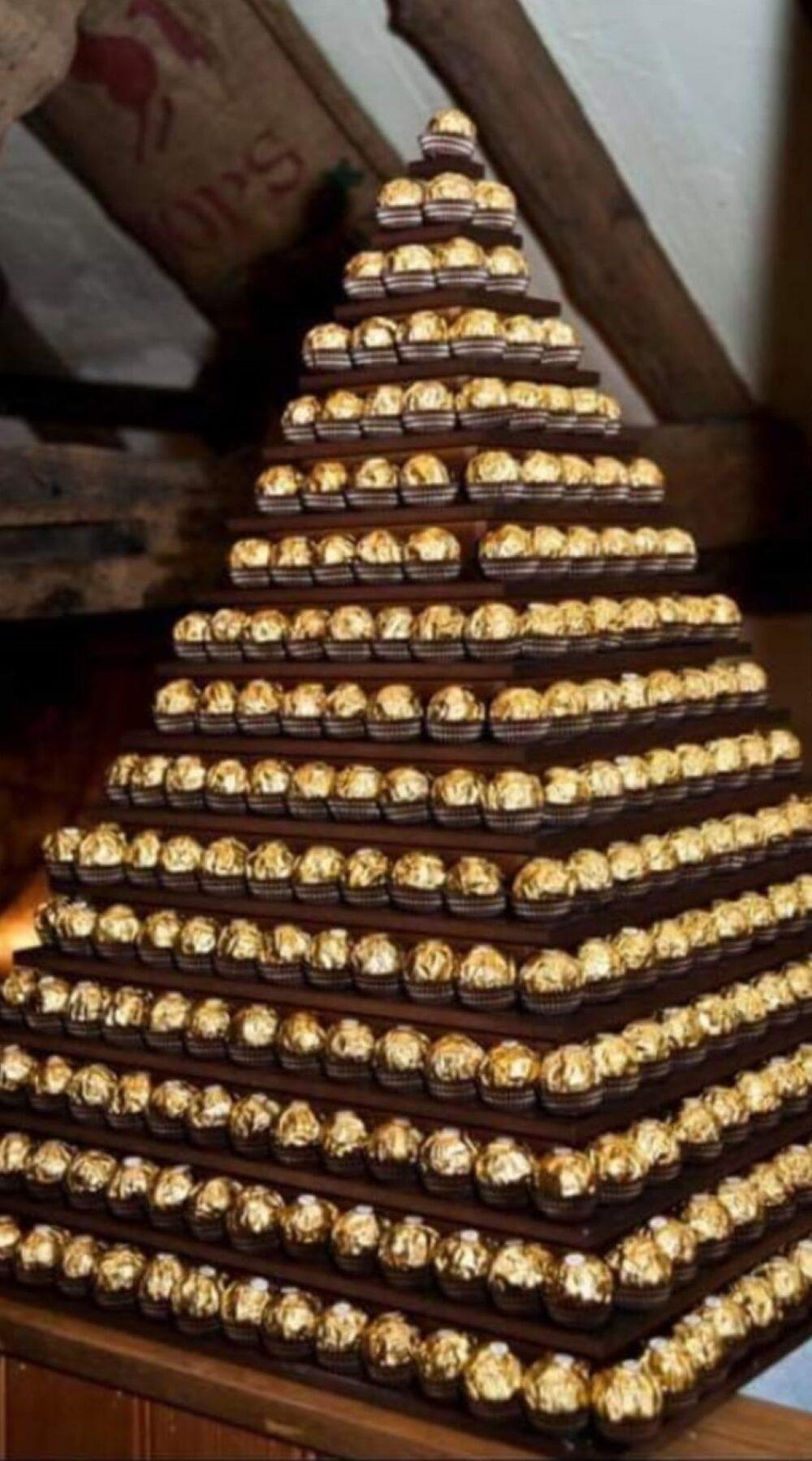 sweet treats for wedding, Ferrero Rocher pyramind wedding