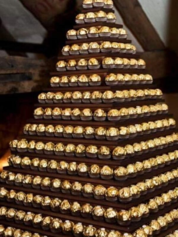 sweet treats for wedding, Ferrero Rocher pyramind wedding