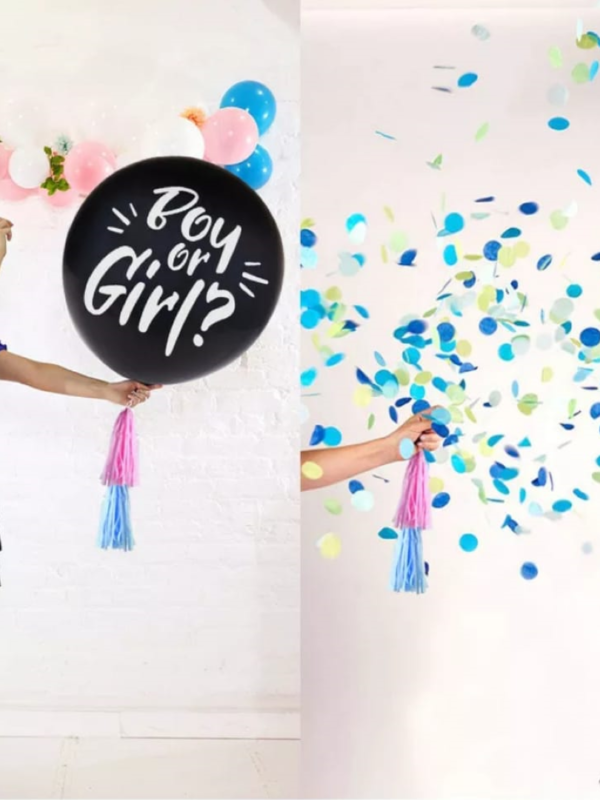 gender reveal balloon with confetti