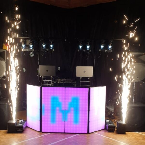pyrotechics at wedding party, disco for hire