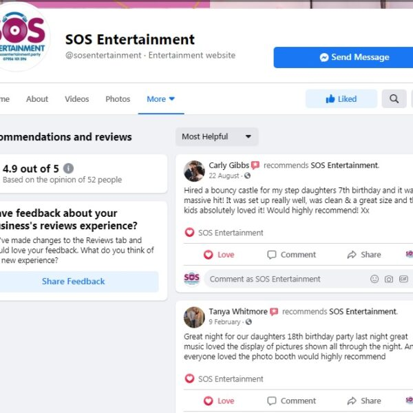 Facebook page for customer reviews, customer testimonials, SOS Entertainment