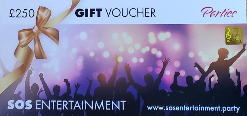 SOS Entertainment party gift vouchers