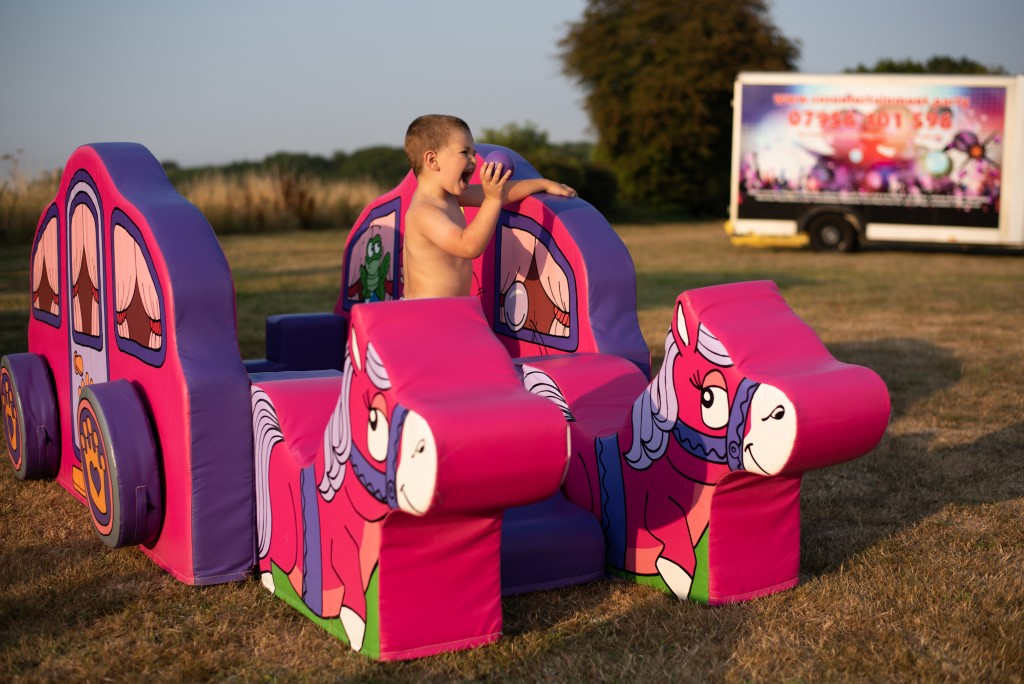 pink inflatables to hire, soft play to hire