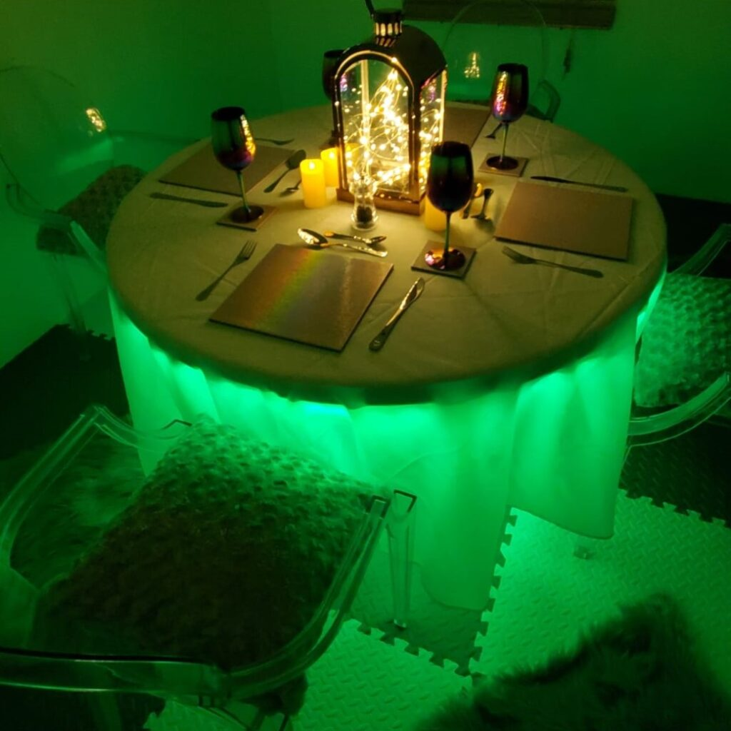 light up dining table, igloo dome