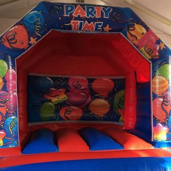 bouncy castle hire, party time balloon theme bouncy castle