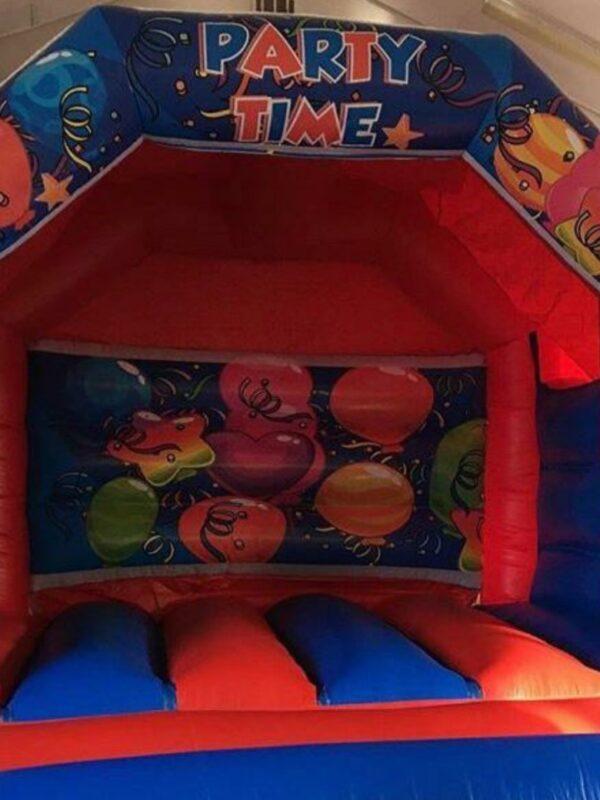 bouncy castle hire, party time balloon theme bouncy castle