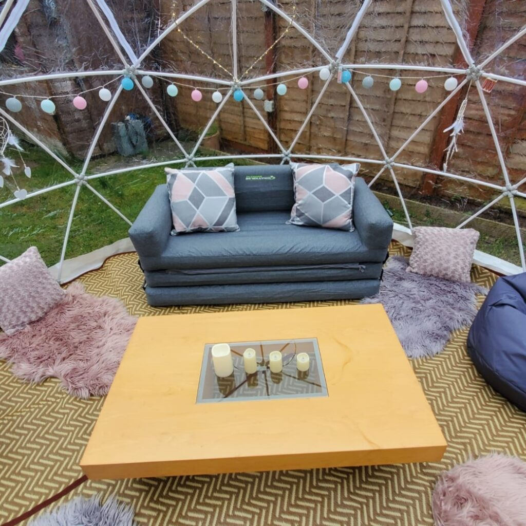 igloo dome with cosy set up for bank holiday weekend