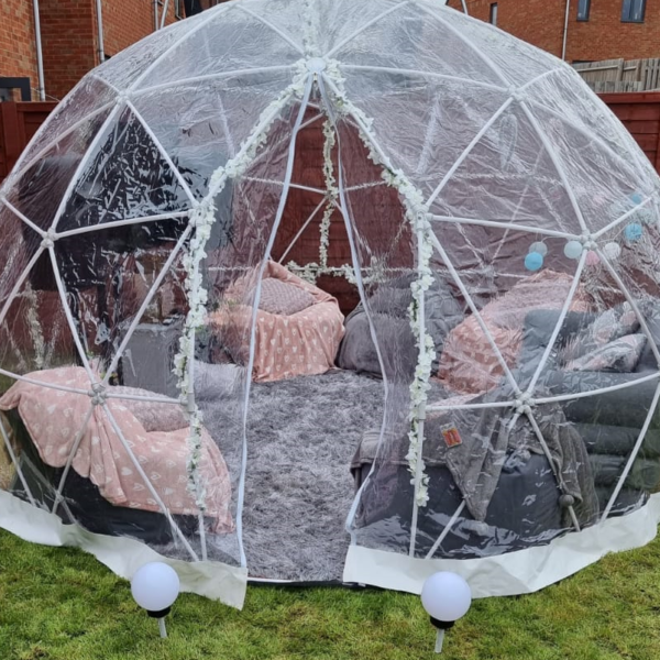 igloo dome hire, HD screen and speakers, outdoor entertainment hire