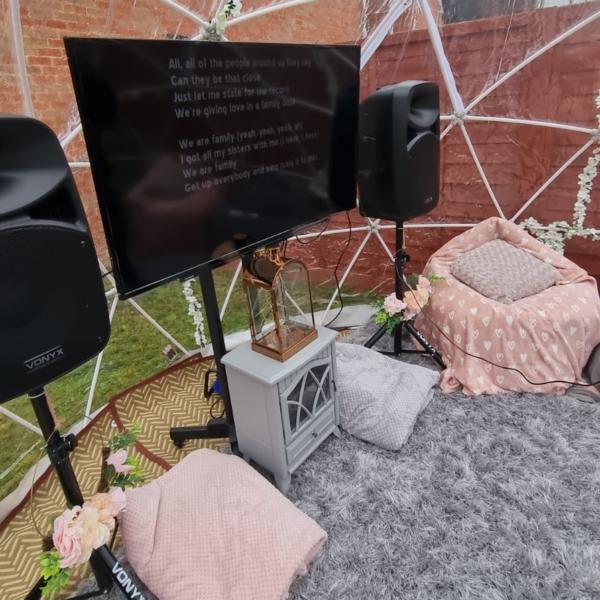 igloo dome hire, karaoke in garden