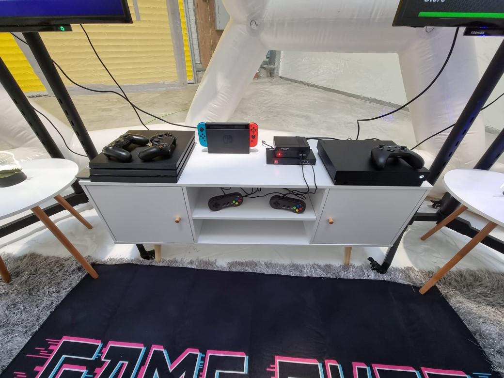 gaming pod setup, gaming party theme, hire gaming equipment