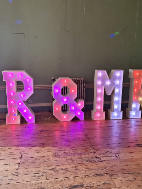 mr and mrs lights, wedding hire packages available