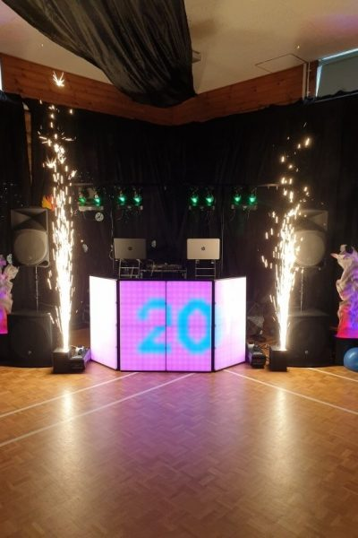 disco with lights and pyrotechnics